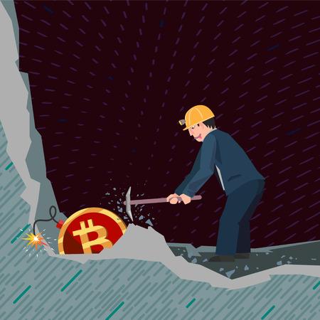 A conceptual business illustration bitcoins Ilustração