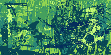 green artistic neo-grunge style abstract background, made with hand drawn textures and brushes