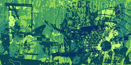 groene artistieke neo-grunge stijl abstracte achtergrond, gemaakt met hand getrokken texturen en borstels