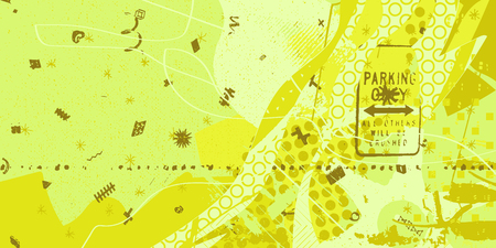 yellow and green artistic neo-grunge style abstract background, made with hand drawn textures and brushes