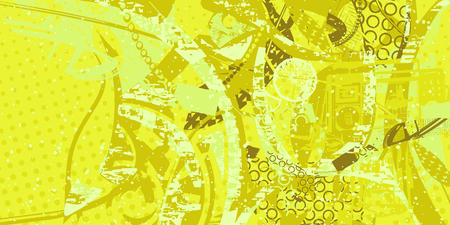 Yellow and green artistic grunge style abstract pattern Illustration
