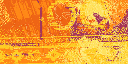 Orange artistic neo-grunge style abstract backgrounds, made with hand drawn textures and brushes Illustration