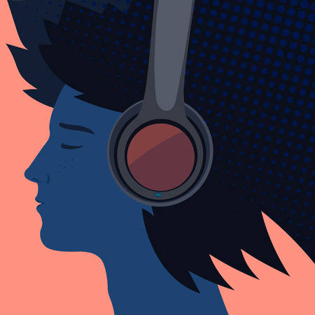 A listen to the music illustration on pink background