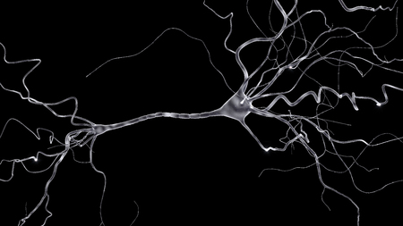 conceptual image with neuron cell in abstract space