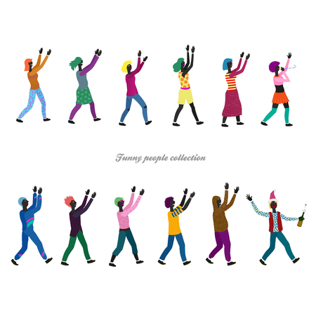 nice collection of 12 different stylized people in festive clothes with hands raised up Ilustrace