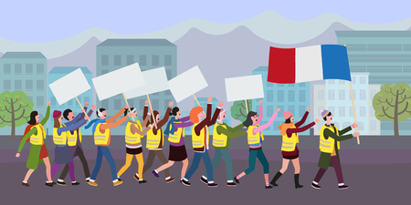 People in yellow vests with french flag. Flat design, vector illustration. Demonstration of yellow vests against a new increase in taxes imposed by the French government.