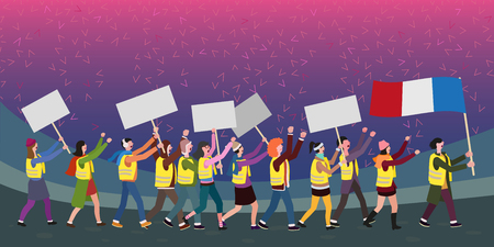 Protesting people on the street, conceptual vector illustration Illustration