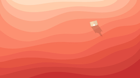 Conceptual illustration of a desert land in red with a small church casting a shadow in the rays of the sunset.