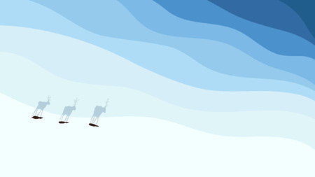 Conceptual illustration of a snowy land in winter with northern deers casting long shadows