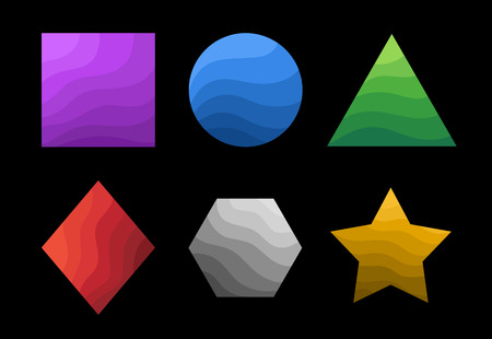Set of geometric primitives filled with wavy texture and having color differentiation Stock Illustratie