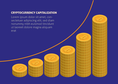 infographic composition with many coins stacked and showing growth of modern popular cryptocurrency capitalization