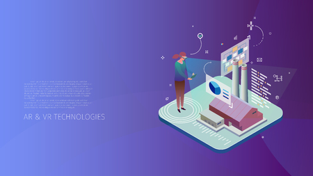 Trendy design style, isometric with gradients and line-art design-elements conceptual composition with a person observing a factory project in AR space, Modern Digital Technologies metaphor