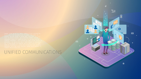 Trendy design style, isometric with gradients and line-art design-elements conceptual composition with a person a person interacting with a system of unified automatic communications, a server, a data base, an energy core and a control computer, metaphoric business illustration