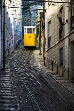 famous yellow funicular on the street of Lisbon, Portugal