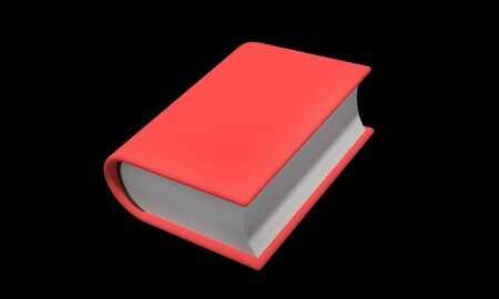 single book cosed in hard cover isolated on black
