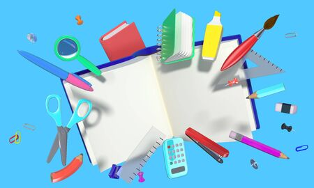 colorful 3D composition with different school related objects
