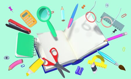 colorful 3D composition with different school theme objects