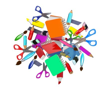 Colorful decorative composition with many school related objects