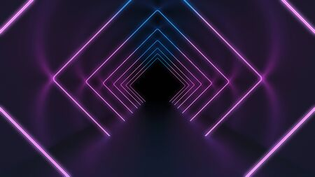 Mysterious background with glowing neon tunnel in darkness