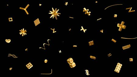 abstract festive background with tiny golden geometric particles