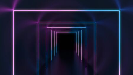 abstract technology background with glowing neon frames in the dark tunnel Zdjęcie Seryjne - 129327286