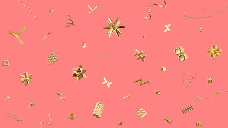 Festive background with abstract golden shapes on pink 스톡 콘텐츠