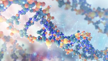 Conceptual illustration with physical model of DNA molecule