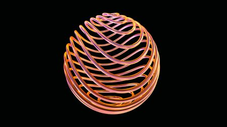 High tech conceptual objects, sphere made of glossy copper wires twisted in 3D space