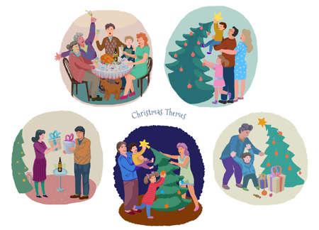 Christmas and New Year fest family celebration illustration set