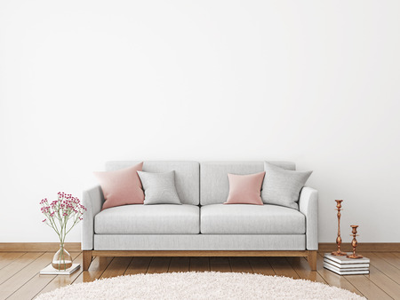Interior wall mock-up with fabric sofa and pillows on white wall background. 3D rendering.