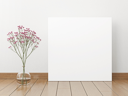 Square interior poster mock-up with flowers in vase on white wall background. 3D rendering.