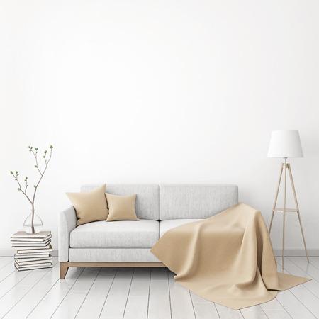 Maqueta del cartel interior con sofá de tela, cuadros y almohadas sobre fondo de pared blanca. Representación 3D