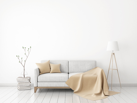 white pillow: Interior wall mock-up with fabric sofa, plaid and pillows on white wall background. 3D rendering.