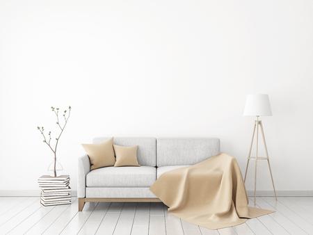 parete interna mock-up con divano in tessuto, plaid e cuscini su sfondo bianco muro. il rendering 3D.