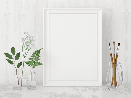 Vertical interior poster mock up with empty frame, artistic brushes and plants in bottles on white wall background. 3D rendering. 스톡 콘텐츠