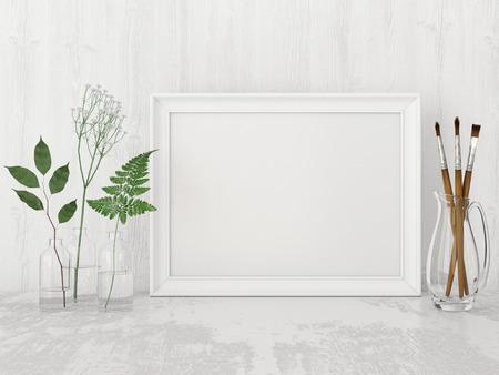 空のフレーム、アートブラシと白い壁の背景にボトルに植物水平インテリア ポスターのモックアップします。3 D レンダリング。 写真素材