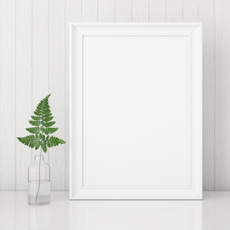 Vertical interior poster mock up with empty frame and fern leaf in glass bottle on white wall background. 3D rendering.