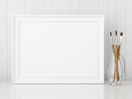 Horizontal Interior Poster Mock Up With Empty White Frame And ...