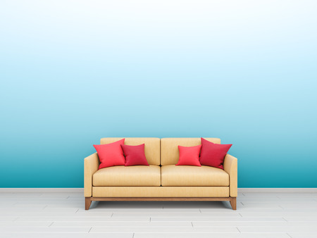 Interior Picture With Sandy Yellow Sofa And Coral Pink Red Pillows Standing  On White Wooden Floor