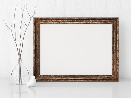 wooden surface: Vintage interior poster mock up with horizontal wooden empty frame, twigs in the water and ceramic bird. 3D rendering. Stock Photo