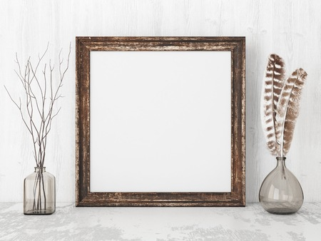 Square vintage poster mockup with wooden frame, feathers and twigs on empty white wall background. 3D rendering. Imagens - 72713614