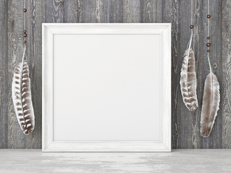 Square vintage poster mockup with white frame and feathers on empty wooden wall background. 3D rendering.ooden wall background. 3D rendering.