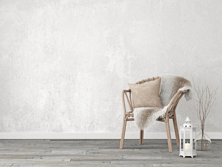 Neutral interior mockup with wicker chair on empty wall background. 3D rendering.