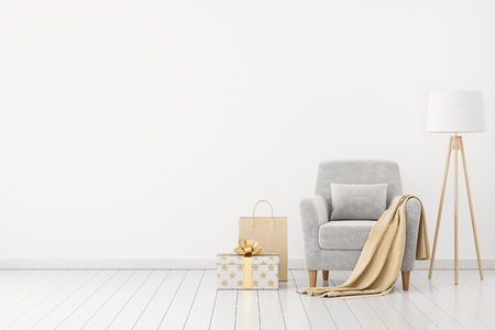 armchair shopping: Neutral interior with velvet armchair on empty white wall background. 3D rendering.