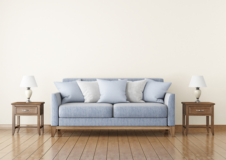 biege: Livingroom with fabric sofa, pillows and lamps on empty wall background. 3D rendering.