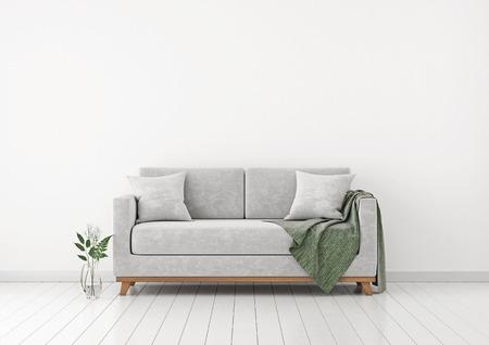 Interieur met bank, planten en plaid op lege witte muur achtergrond. 3D-weergave.