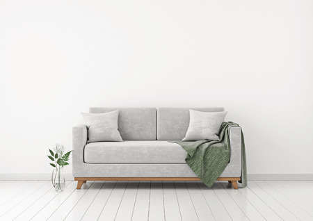 Interior with sofa, plants and plaid on empty white wall background. 3D rendering. Stock Photo