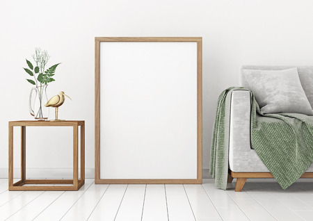 Interior poster mock-up with empty wooden frame and plants on white wall background. 3D rendering. Stock Photo