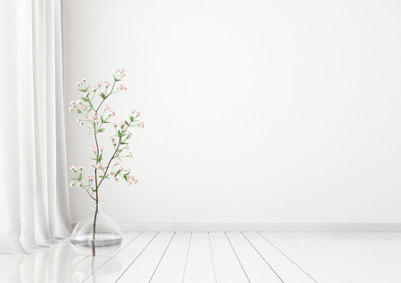 Neutral Interior Mock Up With Plant In Vase On Empty White Wall