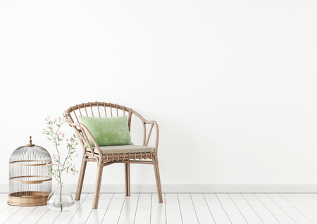 flooring: Neutral interior mockup with wicker chair and plant in vase on empty white wall background. 3D rendering.